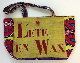 Tote bag in yellow burlap and multicolored african wax loincloth