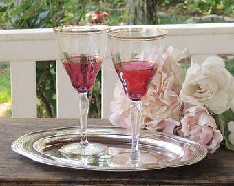 Ruby Flashed Crystal Water or Wine Goblets Set of 2 Wedding Gift Vintage Crystal Stemware, Barware, Bride and Groom