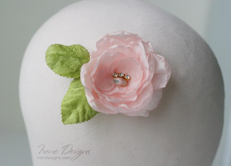Vintage Light Pink Flower And Green Leaves Hair Barrette