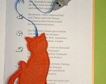 Bookmark Filzmaus & kittens for cat lovers-bookmark-mouse-cat-felt