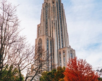 Cathedral of Learning in the Fall (Pittsburgh, University of Pittsburgh, autumn)