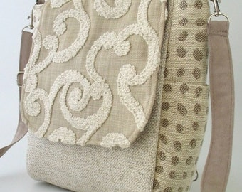 crossbody handbag, beige handbag, womens backpack purse converts to messenger bag, sling bag,  zipper bag, fits Ipad