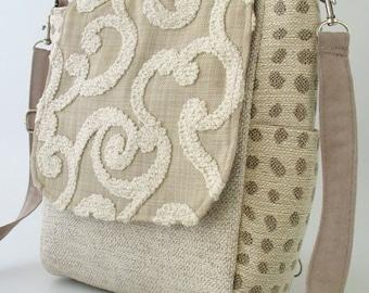 Crossbody Handtasche, Beige Handtasche, Rucksack Damen Geldbörse Konvertiten, Umhängetasche, Schultertasche, Reißverschluss-Tasche, passend für Ipad
