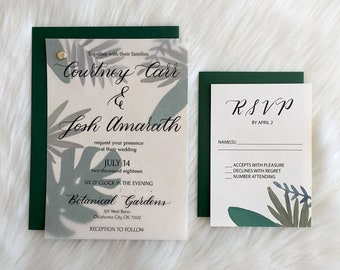 Botanical Wedding Invitation Suite, Garden Wedding, Invite + RSVP, Vellum,