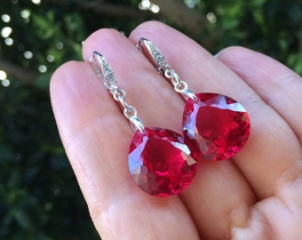 Red Topaz Stone Earrings.  Sterling silver Pave Earrings.  Leverbacks dangles.  Gift for mother