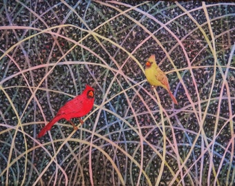 """Watercolor, pair of cardinals, """"Mr. and Mrs. C"""""""