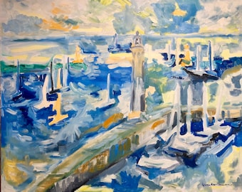 France lighthouses blue,green,yellow,orange,gray Original Oil Painting 24 x 30 inch on stretched canvas by BrandanC