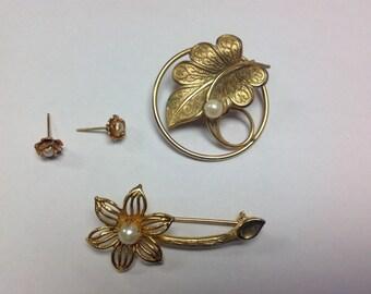 3 Vintage Pearl Items Earrings Brooch Pin