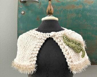 Razzle Dazzle Capelet - Hand Knit Cape with Leaf Embellishment
