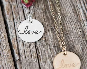 Love Necklace, Hand Lettered Love, Adoption Gift, Sympathy Gift, Handstamped Sterling Silver Necklace, Adoption Gifts, Miscarriage Gifts