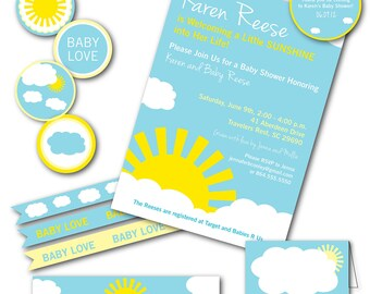 Sunshine, Baby Love Baby Shower Party Package Pack, Gender Neutral, Boy or Girl, Yellow, Blue, Invitation More, DIY Digital Files CUSTOM