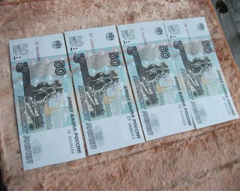 Collectible banknote. Vintage banknote of 50 rubles, Russia, 1997. Architecture. Different series. Set of 4 pieces  . Unused