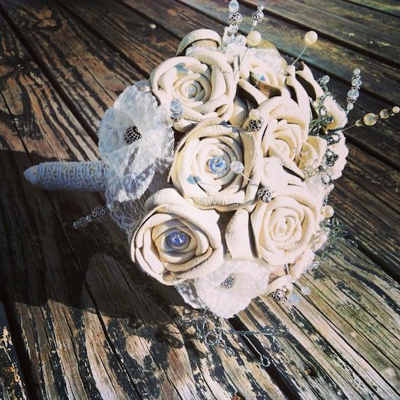 Bouquet Leather and Lace Bridal Bouquet