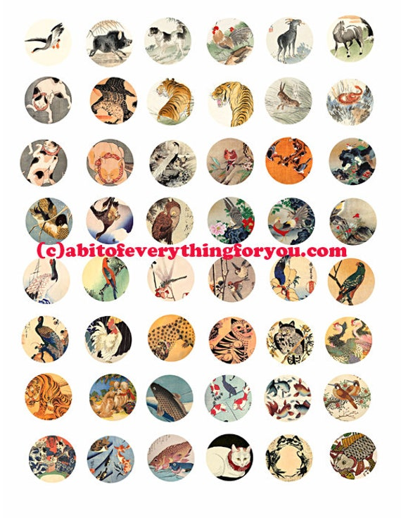 "vintage animal nature paintings art collage sheet digital download 1"" inch circles graphics japanese art images printables pendants bezels"