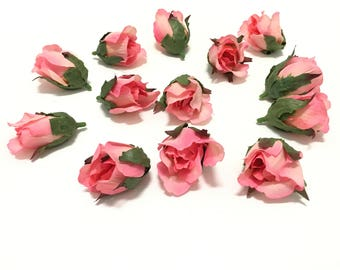 9 coral pink artificial mini roses on short stems artificial 12 coral pink rose buds silk flowers artificial flowers flower crown millinery mightylinksfo Image collections