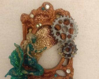 Little Mermaid Cameo pendant, Mermaid Cameo handmade Polymer clay, glitter resin