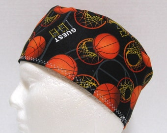 Mens Scrub Hat, Surgical Cap or Skull Cap with Basketballs