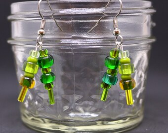 Ides of March Green and Gold Dangle Drop Glass Earring