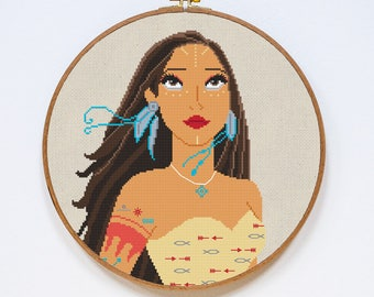 Pocahontas Cross Stitch Pattern, Modern Disney Princess Cross Stitch Pattern, Counted Easy Cross Stitch Chart, PDF Format, Instant Download