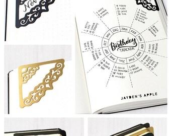 Bookmarks, Bullet Journal Bookmarks, Stainless Steel Decorative Stencil Corner Bookmarks - (Corner B)