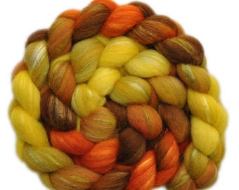 Hand painted combed top roving - Silk / Shetland wool 30/70% spinning fiber - 3.9 ounces - Hot Fields 2