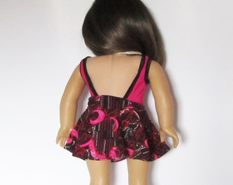 Pink and Black Swim Suit with skirt for American Girl Doll  18 Inch Clothes