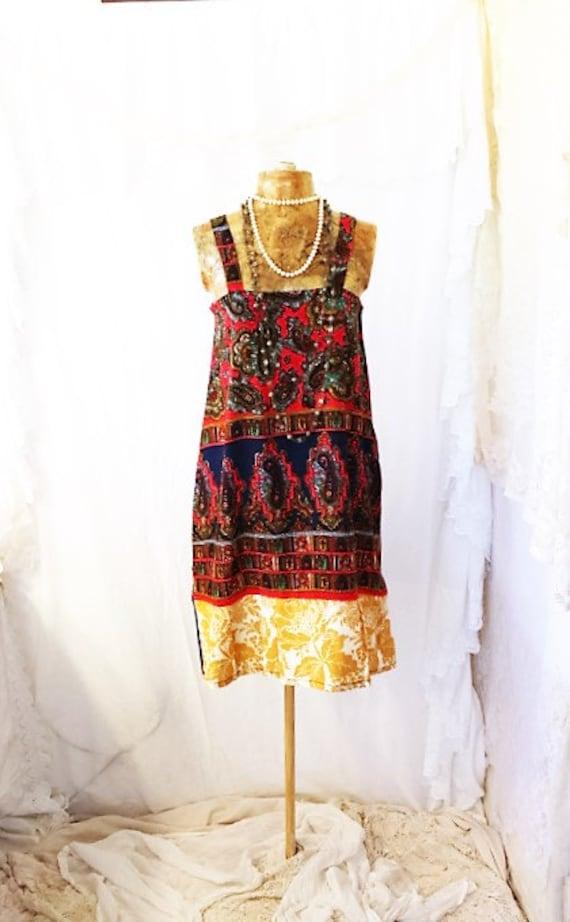 X-Small Vegan Dress/Upcycled Vegetarian Dress/Paisley Dress/Babydoll Dress/Upcycled Clothing/Mini Skirt Dress/summer garden dress/Summer