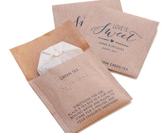 Tea Kraft bags for wedding - Custom text and design available - Wedding or Baby shower favour tea bag