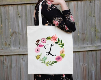 Monogram Floral Wreath Tote Bag, Custom Canvas Tote Bag, Maid of Honor Tote Bag, Bridal Party Tote Bag, Custom Wedding Bag, First Initial
