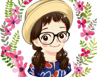 Kawaii custom anime cartoon portrait caricatures photo illustration with backgrounds cute personalized gift for family friends couples pets