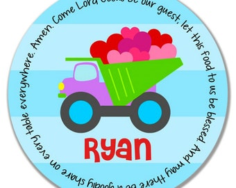 Personalized Melamine Plate - Personalized Kids Plate - Personalized Valentine's Day Plate - Kids Valentine Plate - Dumptruck with Hearts