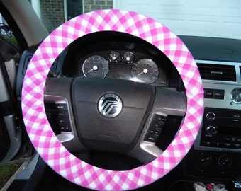 country cutie  FARMER'S DAUGHTER  pink gingham fun colors summertime steering wheel cover