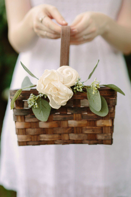 flower girl basket rustic flower basket brown rectangle