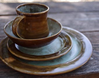 Art Deco Dinnerware Set- Handmade Stoneware Pottery Dinnerware- Brown and Sea Foam Green Spotted & Mix and Match: Plates Bowls or Mugs-Inidual Dinnerware
