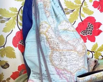 Fabric bag,, fabric bag with a print,, sack bag, sack bag with a print, maps sack bag,