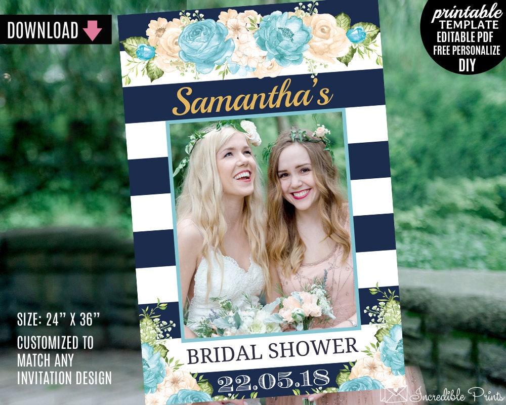Bridal Shower Photo Booth Prop Frame Template. Printable Aqua