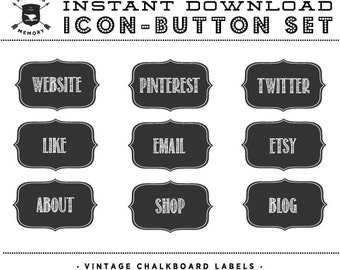 INSTANT DOWNLOAD - Set of 9 Chalkboard Icons -  Blog or Website Buttons - Social Media Buttons - Social Icon Set - Social Media Button Set