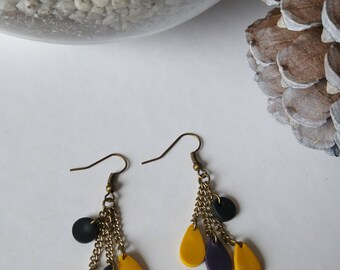 Long earrings mustard and plum