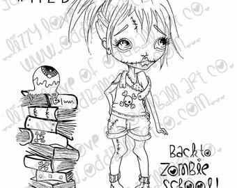 Set of 3 INSTANT DOWNLOAD Digi Stamp Digital Big Eye Zombie Back To School Girl ~ Lindsay Lame Brain Image No.112/112B/112C by Lizzy Love