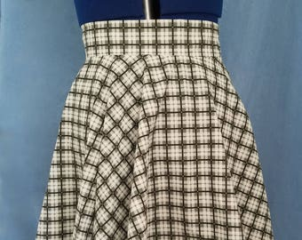 Plaid Circle Skirt - Black and White Plaid Skater Skirt - Any Size and Various Colors and Prints Available - Custom Made Plaid Mini Skirt
