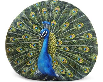 A Rare Shaped Stone Turned into a Stunning Peacock! Unique Rock Painting Art by Roberto Rizzo | 100% Handmade Creations