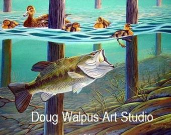 Fish Print, Painting, Largemouth Bass, Ducks, Water, Acrylic, Limited Edition, Wildlife Art, Freshwater Fishing, Wall Art, Wall Decor