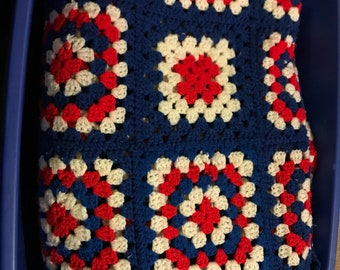 Red, white and blue granny square blanket