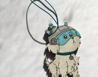 Snuffles Christmas Tree Ornament | Snowball Wooden Holiday Hanging | Where Are My Testicles Summer? Rear View Mirror Decoration