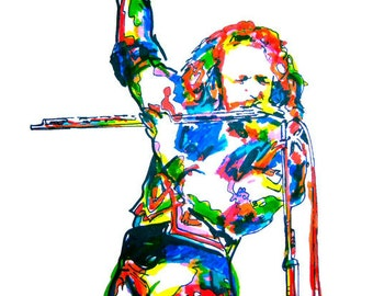 "Ian Anderson of Jethro Tull: POSTER from Original Drawing 18"" x 24"" Signed & Dated by Artist w/COA"