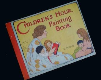 Vintage 1908 Children's Hour Painting Book Antique Edwardian