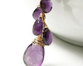 Amethyst Necklace, Gold Filled, Purple Gemstone Cluster Pendant, Natural Stone, February Birthstone, Birthday Gift, Mother's Day Jewelry