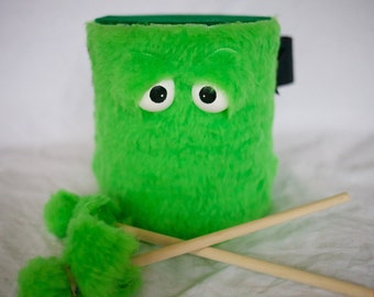 Kids Drum - Furry Green Handmade Durable Eco-Friendly Fun Coolest Marching Drum For Kids 'BLAST BUDDY'
