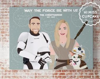 Custom Family Portrait Star Wars Theme / Star Wars Gift / Newly Wed / Star Wars Custom Illustration Portrait / Personalized Valentines Gift