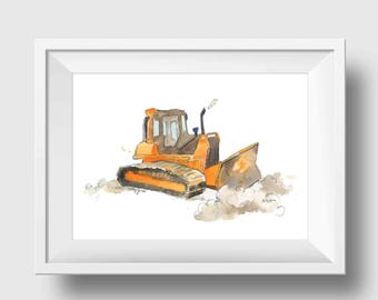 Orange Bulldozer Truck Print Construction Truck Art Print Truck Nursery Decor Boys Room Decor Gift for Him Fathers Day Truck painting